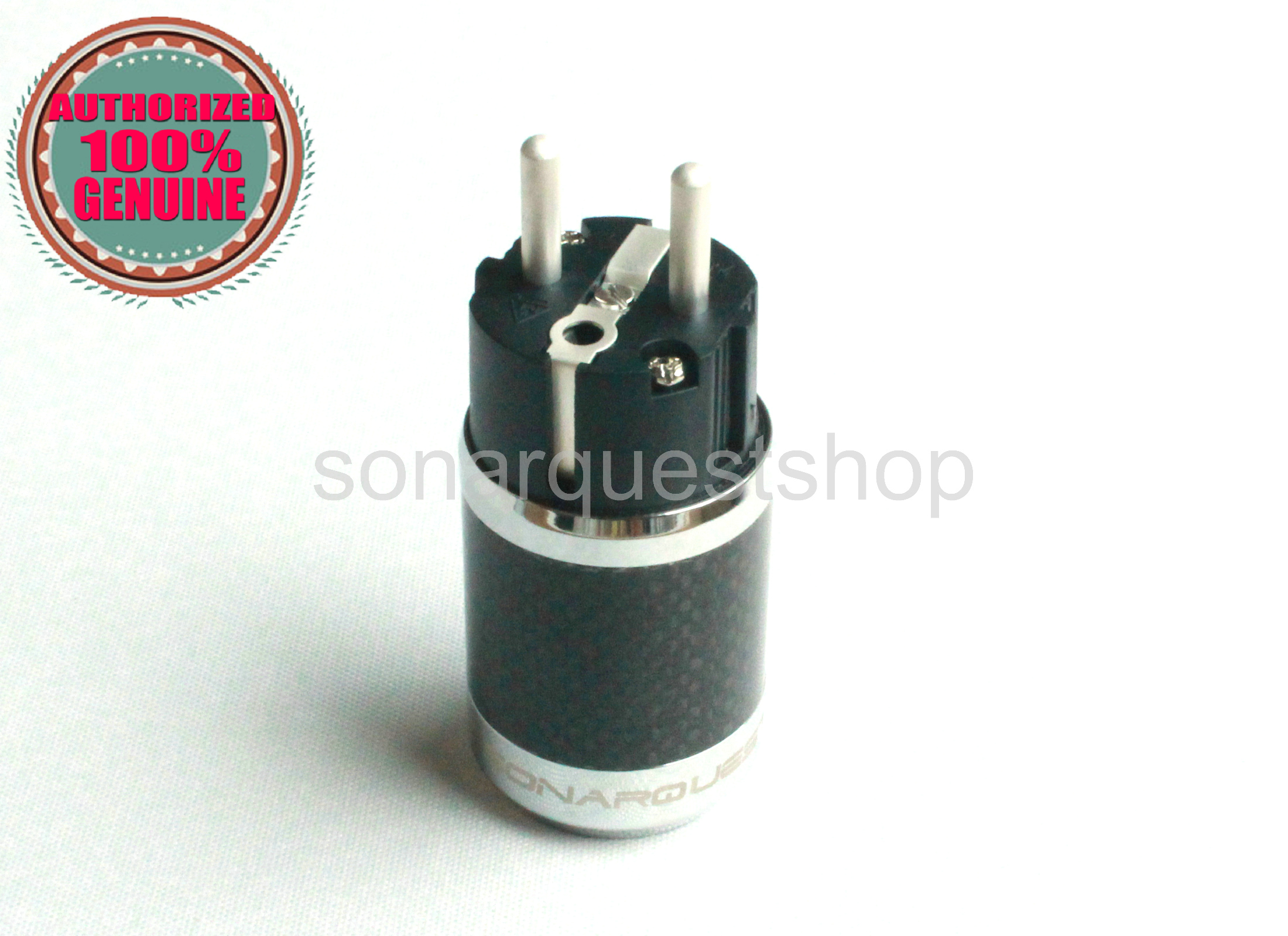 PYK SONARQUEST SQ-E39(Ag)B EU silver Plated BK Carbon fiber Power Plug