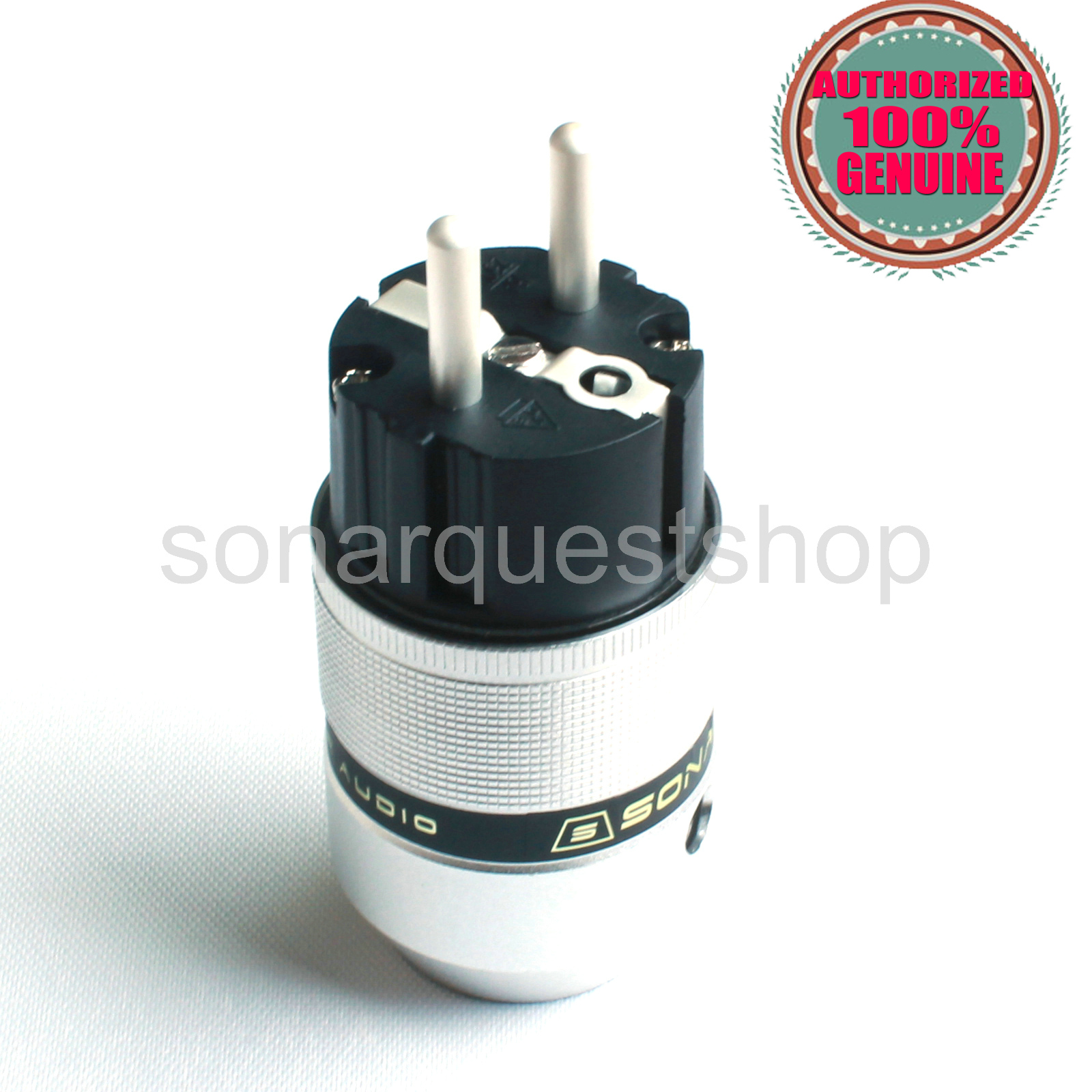 SONARQUEST E25 Ag(B) EU silver Plated UP Black Aluminum alloy Power Plug