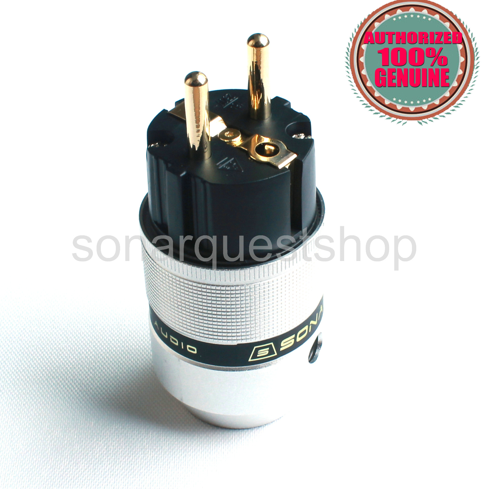 SONARQUEST E25 G(B) EU Gold Plated UP Black Aluminum alloy Power Plug